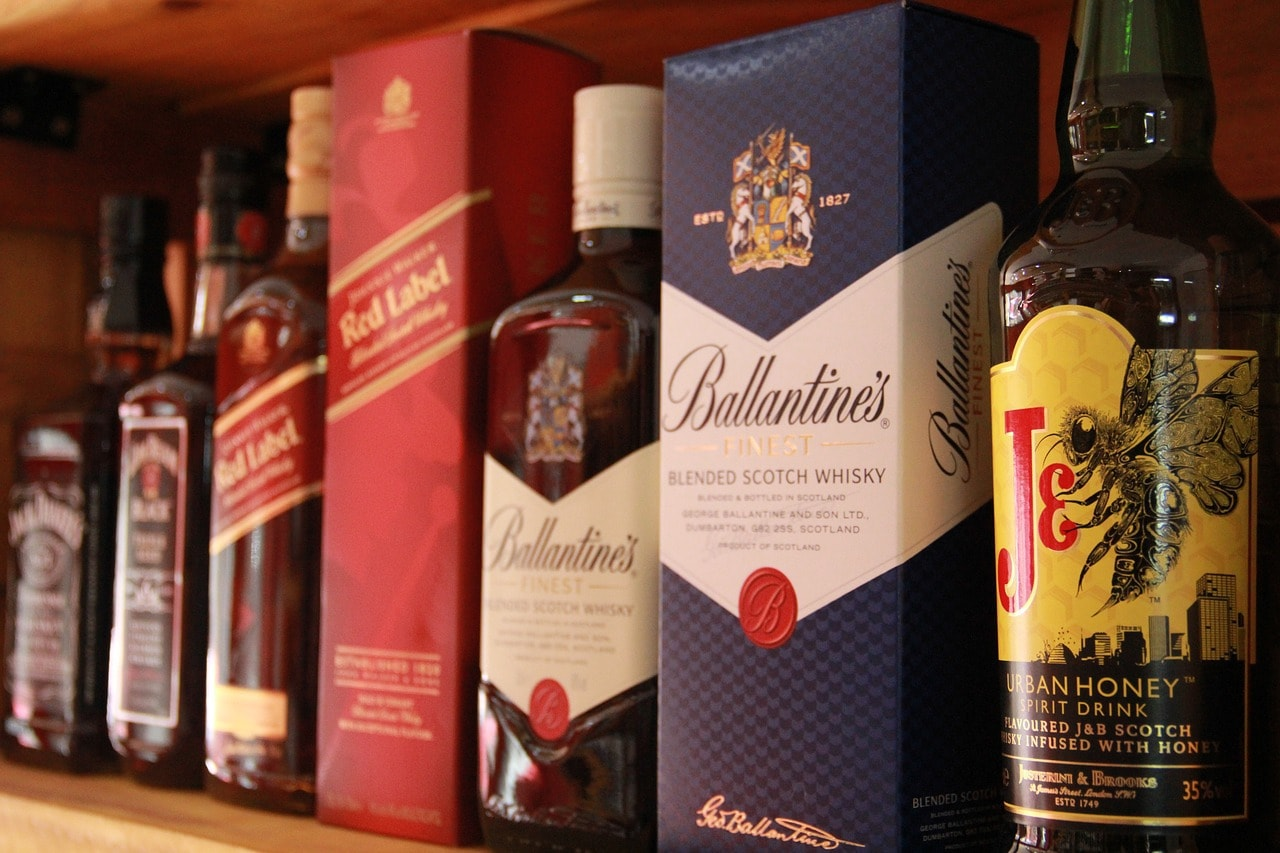 Whisky bottles on a shelf