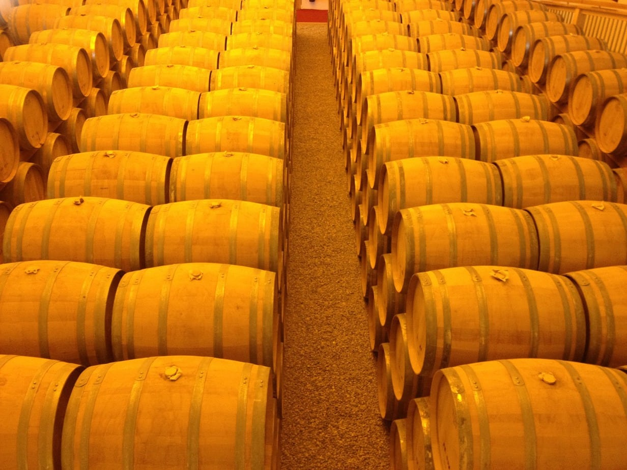 Rows of whisky barrels