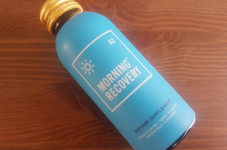 A bottle of Morning Recovery hangover drink