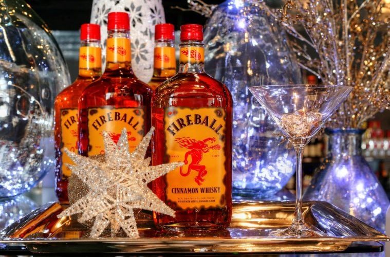 Four bottles of Fireball whiskey