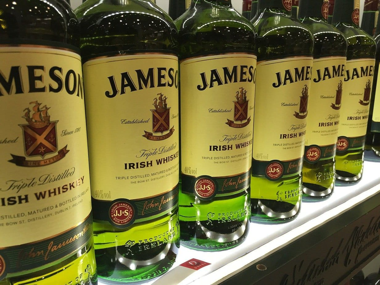 Many bottles of Jameson whiskey