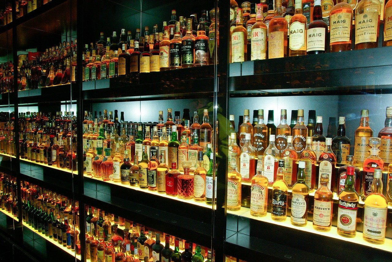 Whiskey bottles on display