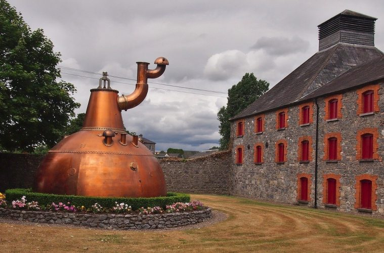 An exterior photo of a whisky distillery