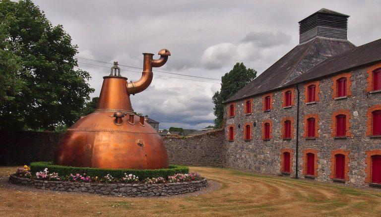 An exterior photo of a whisky distillery