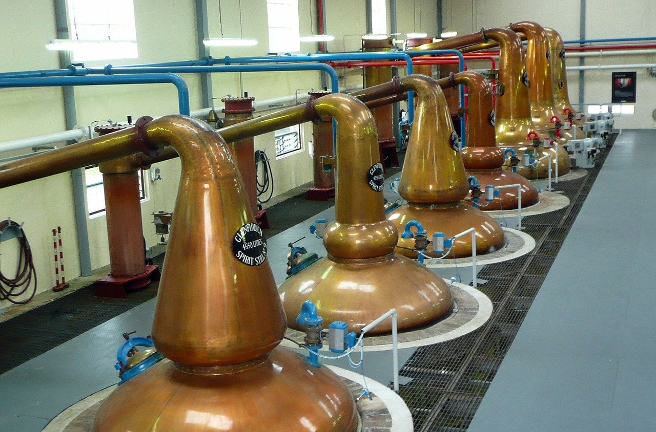 Copper stills at the Glenfiddich distillery
