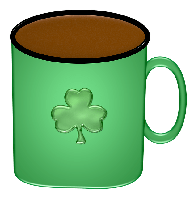 A coffee cup with an Irish clover on it