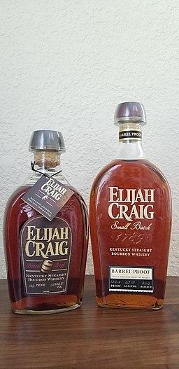 The old and new bottles of Elijah Craig Barrel Proof