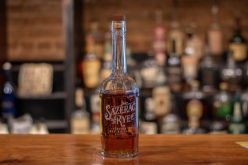 A bottle of Sazerac Rye whiskey