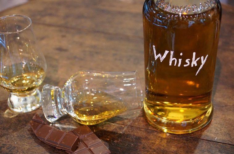 A bottle of homemade whisky