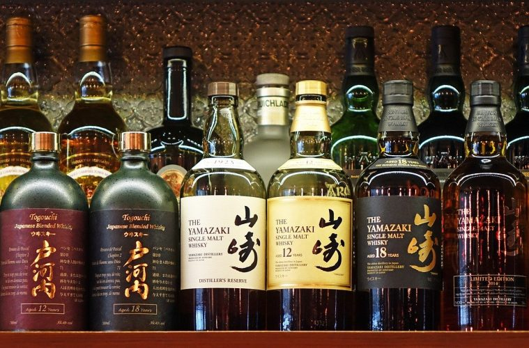 A selection of Japanese whisky on a bar