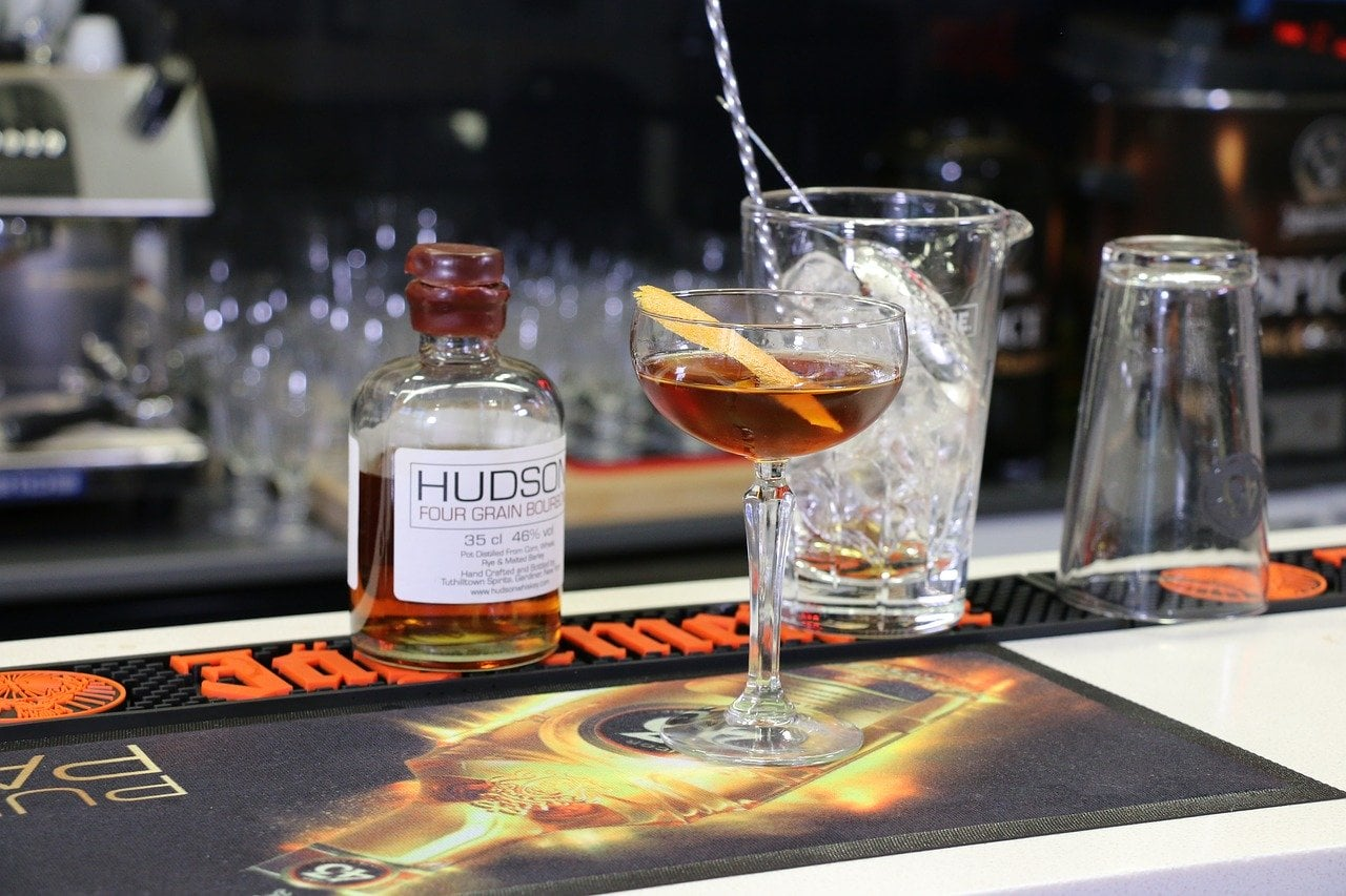 A whiskey Manhattan cocktail