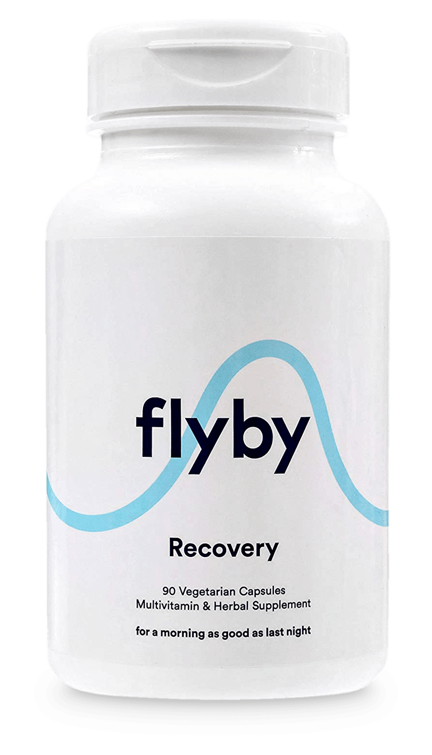 A bottle of Flyby pills