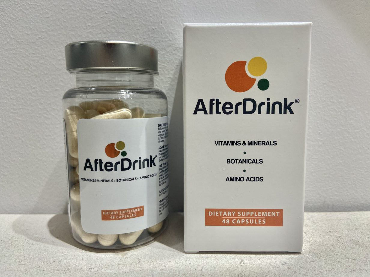 A bottle and box of AfterDrink