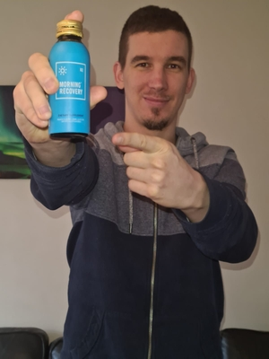 A picture of me with my bottle of morning recovery.