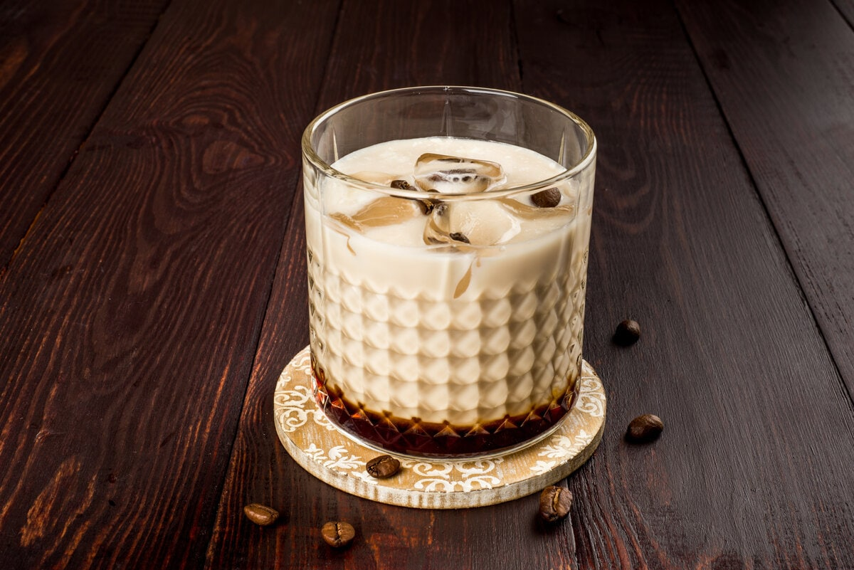A white Russian made with whiskey